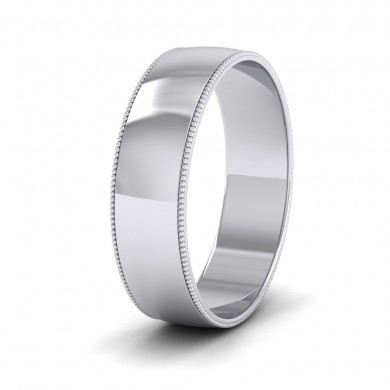 Millgrained Edge 18ct White Gold 6mm Wedding Ring