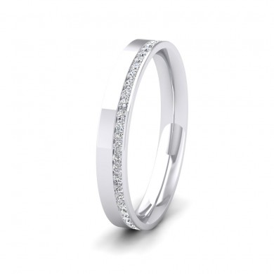 Assymetric Full Channel Set Diamond 18ct White Gold 3mm Ring