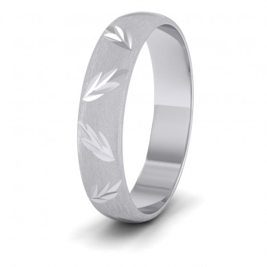 Leaf Cut Pattern 18ct White Gold 4mm Wedding Ring