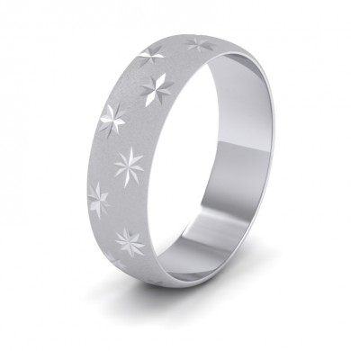 Star Patterned 14ct White Gold 6mm Wedding Ring