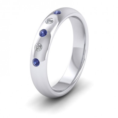 Blue Sapphire And Diamond Flush Set 18ct White Gold 4mm Wedding Ring