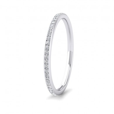 Full Channel Set 0.26ct Round Brilliant Cut Diamond 9ct White Gold 1.5mm Ring