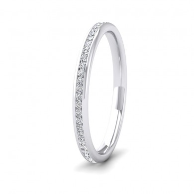 Full Channel Set 0.26ct Round Brilliant Cut Diamond 9ct White Gold 2mm Ring