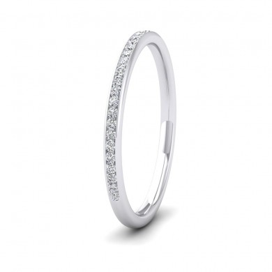 Half Channel Set 0.13ct Round Brilliant Cut Diamond 9ct White Gold 1.5mm Ring