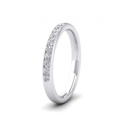 Ten Stone 0.2ct Channel Set Diamond 18ct White Gold 2.5mm Ring