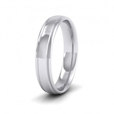 Edge Line Patterned 18ct White Gold 4mm Wedding Ring