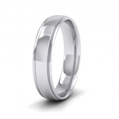 Edge Line Patterned 18ct White Gold 5mm Wedding Ring
