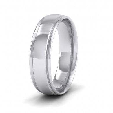 Edge Line Patterned 18ct White Gold 6mm Wedding Ring