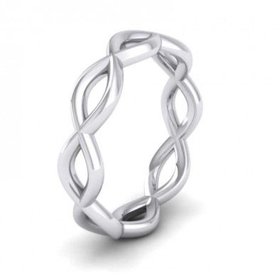 Double Twist 18ct White Gold 4mm Wedding Ring