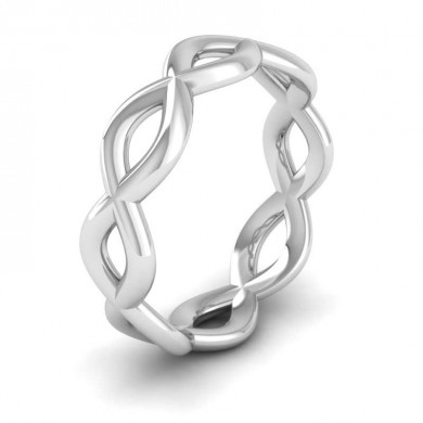 Double Twist 18ct White Gold 6mm Wedding Ring