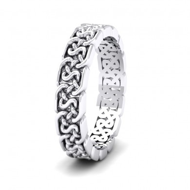 Open Celtic Patterned 14ct White Gold 4mm Wedding Ring
