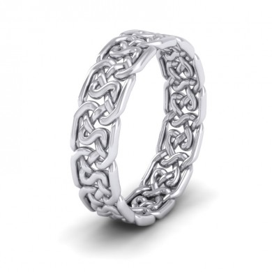 Open Celtic Patterned 18ct White Gold 6mm Wedding Ring
