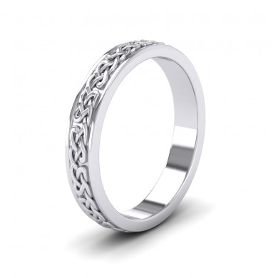 Celtic Pattern With Edge Flat 9ct White Gold 4mm Wedding Ring