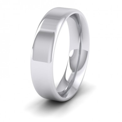 Rounded Edge 18ct White Gold 5mm Wedding Ring