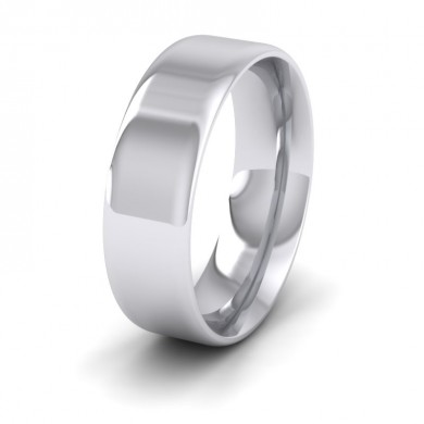 Rounded Edge 18ct White Gold 7mm Wedding Ring