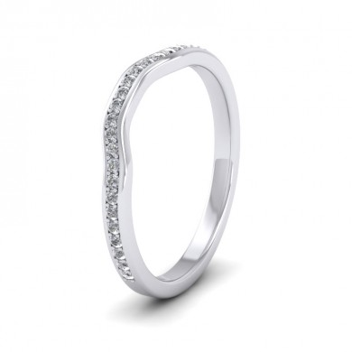 Shaped Diamond Set Pave 14ct White Gold 2mm Wedding Ring