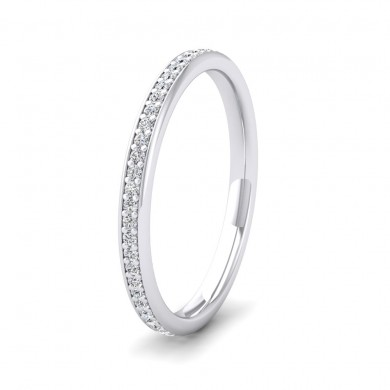 Full Bead Set 0.26ct Round Brilliant Cut Diamond 9ct White Gold 2mm Ring