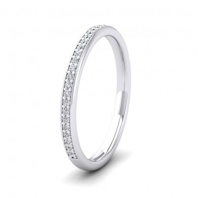 Half Bead Set 0.13ct Round Brilliant Cut Diamond 18ct White Gold 2mm Wedding Ring