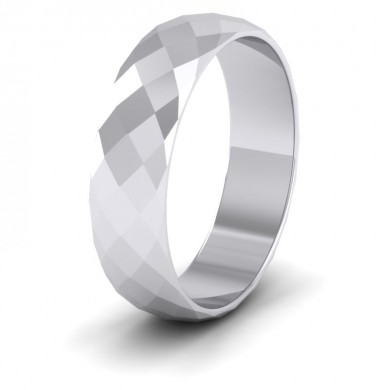 Facetted Harlequin Design 18ct White Gold 6mm Wedding Ring