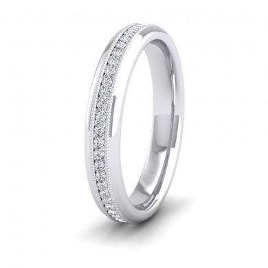 Fully Set Ring With Round Brilliant Cut Diamonds With Set In Millgrain Surround (0.26ct) 18ct White Gold 3.5mm Ring