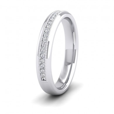 Half Set Ring With Round Brilliant Cut Diamonds With Set In Millgrain Surround (0.14ct) 950 Palladium 3.5mm Ring