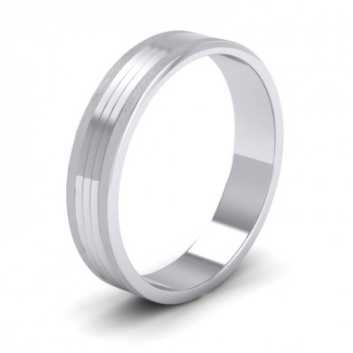 Grooved Pattern 18ct White Gold 4mm Flat Wedding Ring