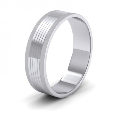 Grooved Pattern 14ct White Gold 6mm Flat Wedding Ring