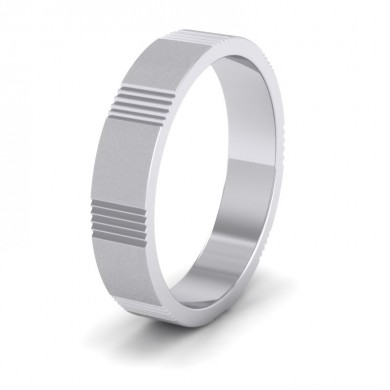 Across Groove Pattern 18ct White Gold 4mm Flat Wedding Ring
