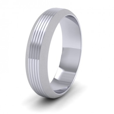Grooved Pattern 18ct White Gold 6mm Wedding Ring
