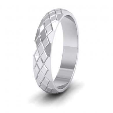 Facet And Line Harlequin Design 18ct White Gold 4mm Wedding Ring