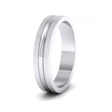 Bullnose Groove Pattern Flat 18ct White Gold 4mm Flat Wedding Ring