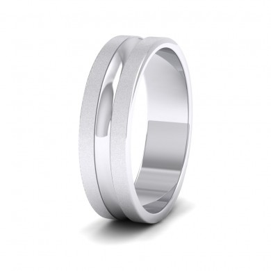 Bullnose Groove Pattern Flat 18ct White Gold 6mm Flat Wedding Ring