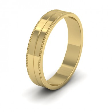 Millgrain And Line Pattern 18ct Yellow Gold 4mm Flat Wedding Ring