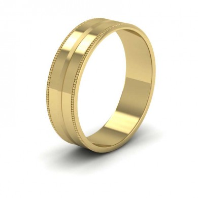 Millgrain And Line Pattern 18ct Yellow Gold 6mm Flat Wedding Ring