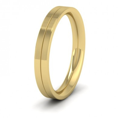 9ct Yellow Gold 3mm Wedding Ring With Line
