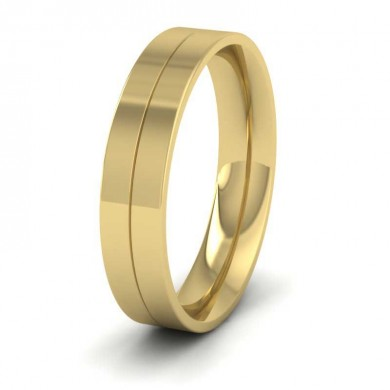 9ct Yellow Gold 5mm Wedding Ring With Line