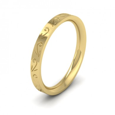 Engraved Flat 14ct Yellow Gold 2.5mm Wedding Ring