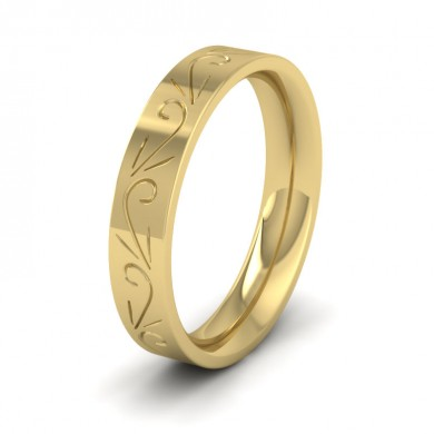 Engraved Flat 18ct Yellow Gold 4mm Wedding Ring