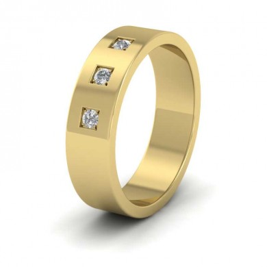 Three Diamonds With Square Setting 18ct Yellow Gold 6mm Wedding Ring