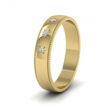 Millgrained Edge And Three Star Diamond Set 9ct Yellow Gold 4mm Wedding Ring