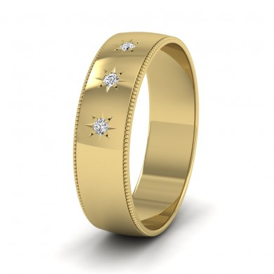 Millgrained Edge And Three Star Diamond Set 18ct Yellow Gold 6mm Wedding Ring