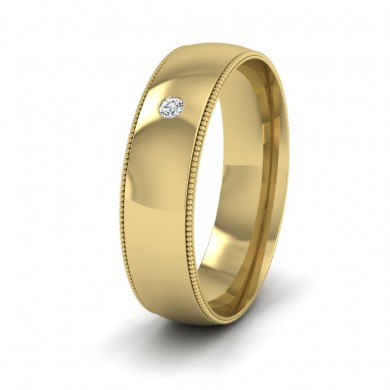 Single Flush Diamond Set And Millgrain Edge 14ct Yellow Gold 6mm Wedding Ring