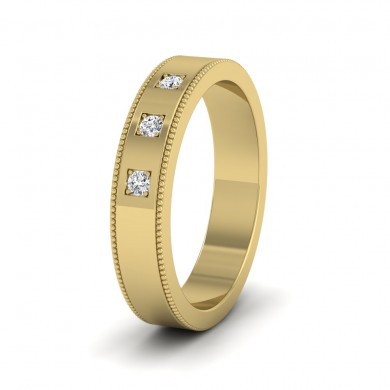 Three Diamonds With Square Setting 14ct Yellow Gold 4mm Wedding Ring With Millgrain Edge