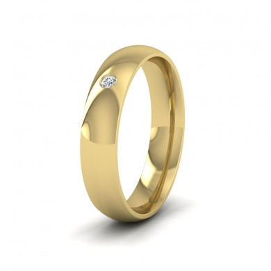 Single Flush Diamond Set 9ct Yellow Gold 5mm Wedding Ring