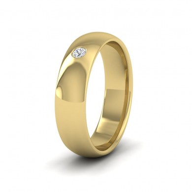 Single Flush Diamond Set 9ct Yellow Gold 6mm Wedding Ring