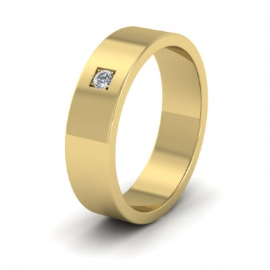 Single Diamond With Square Setting 18ct Yellow Gold 6mm Wedding Ring