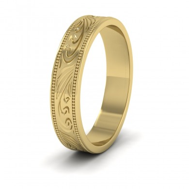Engraved 18ct Yellow Gold 4mm Flat Wedding Ring With Millgrain Edge