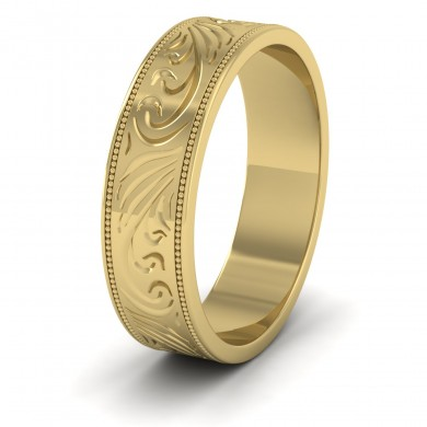Engraved 18ct Yellow Gold 6mm Flat Wedding Ring With Millgrain Edge