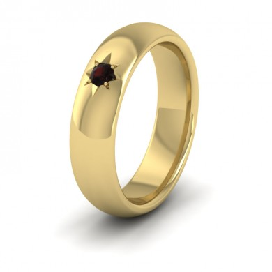 Garnet Star Set 14ct Yellow Gold 6mm Wedding Ring