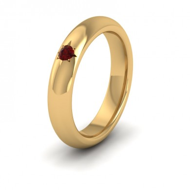 Ruby Star Set 9ct Yellow Gold 4mm Wedding Ring